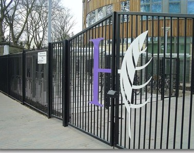 Bespoke Balustrade Gate with Logo GT009
